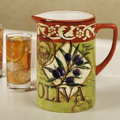 Olio Beverage Pitcher Olive