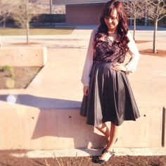 Edgy and Soft: Leather Midi Skirt and Lace Top || Modest Style || Modest Fashion || Modest Outfit Inspiration || Visit www.modest-style.com