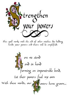 Book Of Shadows Pages: Strengthen your powers Witchcraft Spell Books, Wiccan Spell Book, Wiccan Witch, Magick Spells, Witch Spell, Healing Spells, Charmed Spells, Charmed Book Of Shadows, Witchcraft Spells For Beginners