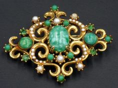 Vintage Florenza Renaissance Style Mottled Green Glass and Faux Pearl Brooch