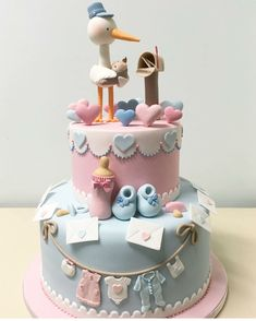 Adorable 2 tier Stork Cake for a Baby Shower Torta Baby Shower, Tortas Baby Shower Niña, Baby Shower Cupcakes, Shower Cakes, Jednostavne Torte, Beautiful Cakes, Amazing Cakes, Stork Cake, Decoration Buffet