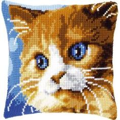 Brown Cat Pillow (counted cross stitch kit) by Vervaco Cat Cross Stitches, Cross Stitching, Cross Stitch Patterns, Needlepoint Pillows, Needlepoint Kits, Embroidery Kits, Cross Stitch Embroidery, Cross Stitch Cushion, Cat Applique