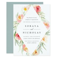 Modern floral wedding invitation in sheer pastel watercolors features a diamond shaped geometric border of painted blooms in pale peach and mint green, with your wedding details in soft grey lettering.