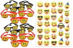 Emoji Party Favors for 12 ~ Set of 12 Emoji Sunglasses with 6 Different Emoji Faces and 33 Emoji Temporary Tattoos - Super Emoticon Fun for Birthday Parties, Great for Prizes, Classroom Fun