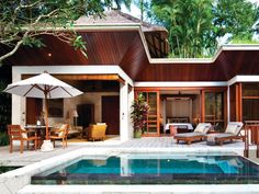 balinese outdoor rooms photos | Outdoor Living, Pool, Four Seasons Resort Bali in Sayan, Bali
