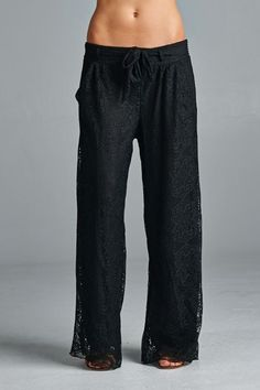 Swiss Lace Charlie Pants in Black | Women's Clothes, Casual Dresses, Fashion Earrings & Accessories | Emma Stine Limited
