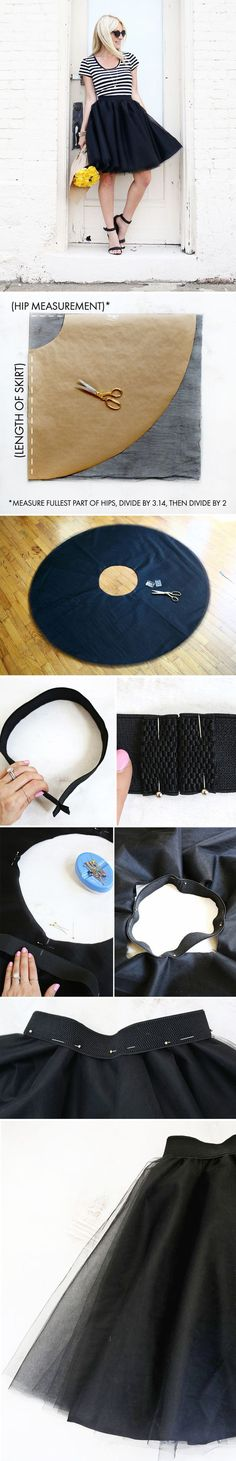 Sewing Skirts Tulle Circle Skirt DIY - So, I've pretty much had a crush on all the tulle skirts I've been seeing online for quite. Sewing Dress, Diy Dress, Sewing Clothes, Diy Clothing, Clothing Patterns, Sewing Patterns, Skirt Patterns, Fashion Kids, Diy Fashion