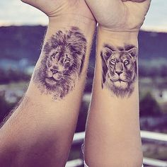 Tattoos are becoming more and more accepted and popular these days. Couple tattoos are very cute. Below, we are going to mention lion couple tattoo ideas & designs. Paar Tattoos, Neue Tattoos, Body Art Tattoos, Small Tattoos, Tatoos, Small Lion Tattoo, Lion And Lioness Tattoo, Tiger Tattoo, Cute Couple Tattoos