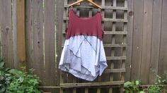 Plus Size Tunic Shirt Lagenlook Upcycled Tank Top/ Funky Asymmetrical Maroon Blue White Gray Eco Blouse/ Womens Tank Tops XL/XXL by FuriousDesigns on Etsy