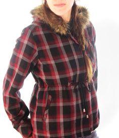 Womans Juniors M Jacket by Hang Ten, Red & Black Plaid, Fur Hood, Drawstring  #HangTen #BasicJacket #Outdoor  http://www.ebay.com/usr/the_another_corner
