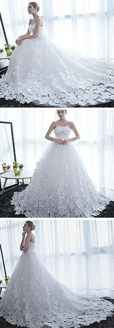 Gorgeous 2018 Ball Gown Wedding Dresses with 3D Flowers Elaborate ...