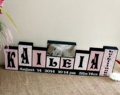 Unique New Baby Gift Wooden Name Blocks by TimelessNotion on Etsy