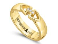 14K YELLOW GOLD LINK RING WITH DIAMONDS