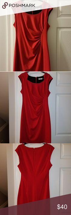 Red Calvin Klein Dress Formal Calvin Klein Dress. Red. Size 14. Worn once to a wedding - in excellent condition! Calvin Klein Dresses Midi