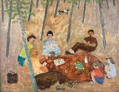 """The Picnic, Vermont,"" Milton Avery, 1940, oil on canvas, 28 × 36"", Peabody College Collection, Vanderbilt University Fine Arts Gallery."