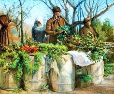 Eleazer Hutchinson Миллер (американский художник, 1831-1921) Продажа Рождество Greens
