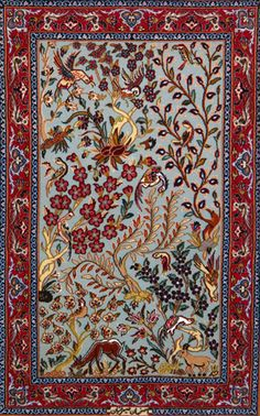 Turquoise and Red color combination. Trees blossoms and deer. Esfahan Persian Rug