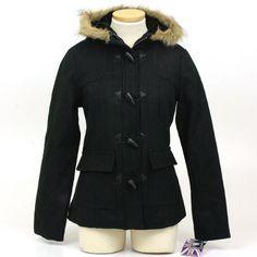 Women's Toggle Button & Zipper Parka by Miss London Wool Blend 3/4 Coat Faux Fur Hoodie Jacket - 3 Colors Miss London. $34.99