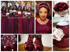 Maroon & cream Nigerian wedding colors
