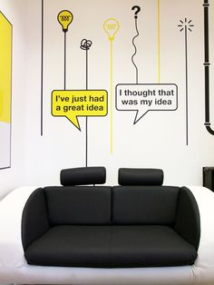 A couple seat w/ interchangeable speech bubbles for photo shoot