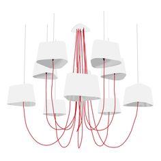 GRAND NUAGE - Lustre XL 10 Lumières Blanc/Argent   Suspension DesignHeure designé par Hervé Langlais   LightOnline