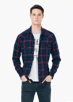 Camisa slim-fit franela cuadros - Hombre | MANGO