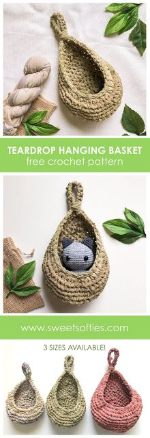 pattern: Teardrop Hanging BasketsFreecrochet pattern: Teardrop Hanging Baskets Let's knit up these really cleverly designed and easy to knit Baby Booties! FREE on her web as well from Ravelry: Teardrop Hanging Baskets pattern by Sweet Softies . Crochet Gratis, Crochet Yarn, Free Crochet, Crochet Plant Hanger, Hanging Flower Baskets, Ribbon Yarn, Crochet Home Decor, Yarn Crafts, Softies