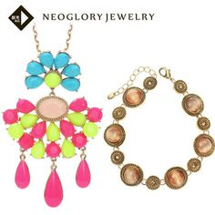 Neoglory Resin Colorful Necklace Opal Vintage Bracelet Fashion Statement Jewelry Set for Women Christmas Present   2014