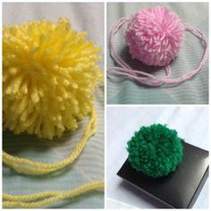Three Pom Poms, Pack of 3 Pom Poms, Set of Three Gift Decor, Yellow Pom Pom, Green Pom Pom, Pink Pom Pom, Yarn Pom Poms, Woolly Pom Poms
