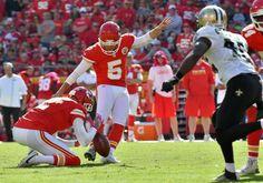 Saints vs. Chiefs  -  27-21, Chiefs  -  October 23, 2016:   Kansas City Chiefs kicker Cairo Santos kicks a third quarter field goal during Sunday's football game against the New Orleans Saints on October 23, 2016 at Arrowhead Stadium in Kansas City, Mo.