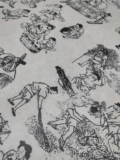2ea Asian Art Rice Paper Printed with Korean Folklore Genre Painting Masterpiece