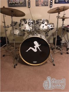 Mud Flap Girl decal from www.DecalJunky.com applied to a drum.