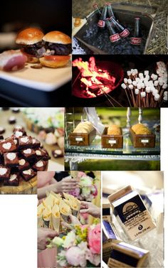 Like the idea of hamburgers. And live the marshmellow sticks. Def want a bonfire and smores!!!THEIDEA!