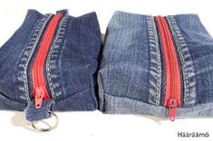 Tutorial to make recycled jeans pencil cases. In Finnish but the pictures are… Denim Scraps, Diy Pochette, Jean Crafts, Denim Purse, Denim Ideas, Pencil Bags, Creation Couture, Recycled Denim, Fabric Bags