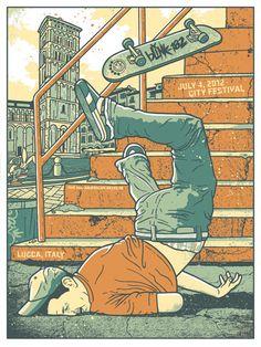 Doing Something Stupid on a Skateboard. (Blink 182 gig poster, by Gregg Gordon) Rock Posters, Band Posters, Retro Posters, Street Art, Arte Hip Hop, Travis Barker, Skate Art, Tom Delonge, Dope Art