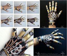 maquillage Halloween très créative avec peinture couleur or idée pour les mains