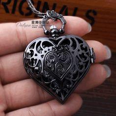 Black Hollow pocket watch necklace Quartz Heart-shaped orologio taschino Retro Pendant Chain Women antique pocket watches Mens