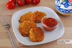 Receta de medallones o fritters de zanahoria y patata al horno. Receta saludable. Con fotos del paso a paso, consejos y sugerencias de...