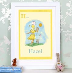 Children's personalised balloons wall art print - hardtofind.