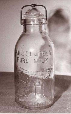 Glass Milk Bottles, Milk Glass, Churning Butter, Mason Jar Lamp, Table Lamp, Pure Products, Milk Bottles, Table Lamps, Lamp Table