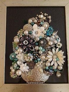Vintage Jewelry Art Framed Not Christmas Tree Floral ** SPRING Upcycled Recycled #VintageJewelry