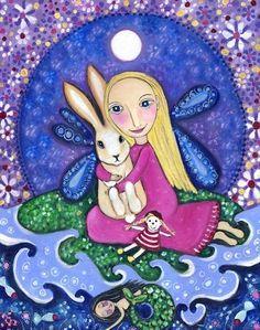 Girl with Rabbit Art Print  Whimsical Folk  by LindyLonghurst, $20.00