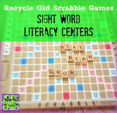 How to Recycle Scrabble into a Literacy Center for Sight Words and Language Arts #KidsCreativeChaos
