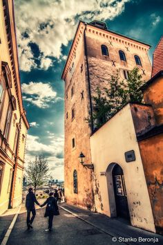 The Lotrščak Tower (Kula Lotrščak) is a remaining part of once fortified Zagreb, Croatia, in old part of town called Gradec or Gornji grad (Upper town). Tower dates to the 13th century, was built to guard the southern gate of the Gradec town wall. The name is derived from Latin campana latrunculorum 'thieves' bell', referring to a bell hung in the tower in 1646 to signal the closing of the town gates.