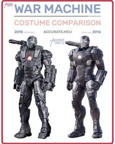 • WAR MACHINE - COSTUME COMPARISON • I really wanted to do this with Rhodes infinity war suit but there aren't enough pictures yet so I did…
