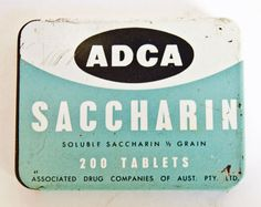 Vintage Pharmacy Tin  Saccharin  Original Contents