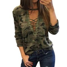 73602efc8c7 Camouflage V Neck Lace Up Feminino lacet T shirt Loose Bandage Top Harajuku  Tracksuit - COZY