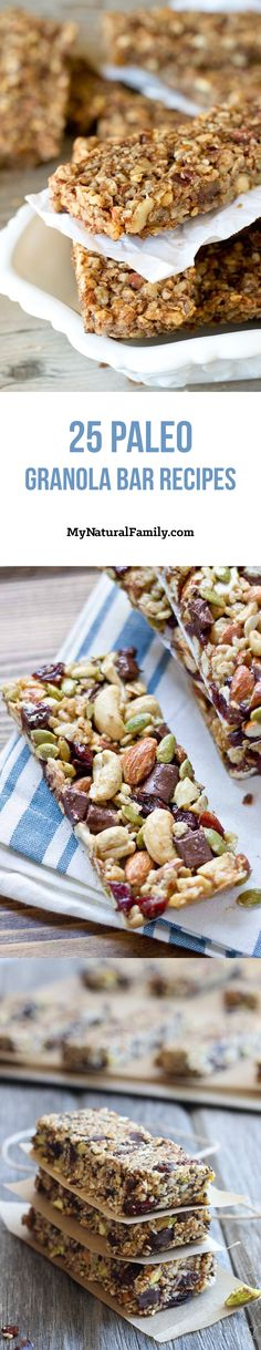 25 of The Best Paleo Granola Bars Recipes. Need a granola bar recipe that is made with all clean eating ingredients? How about 25 clean eating recipes! Pin now to refer to next time you want to make a healthy granola bar! Paleo Granola Bars, Paleo Bars, Paleo Granola Recipe, Paleo Sweets, Paleo Dessert, Dieta Paleo, Paleo Diet, Paleo Food, Clean Eating Diet
