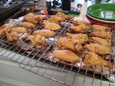 Without a doubt the BEST wings ever baked in the oven.  Made them tonight to rave rave rave reviews.  Still shaking my head over how good they were.  You could toss in any sauce but the way it is baked in the over is the secret!  Dinner with the Grobmyers: Crispy Oven Baked Chicken Wings