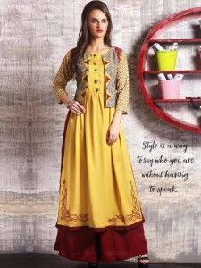 Cotton jacket style kurti in yellow color